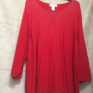 Red 3/4 sweater with silver